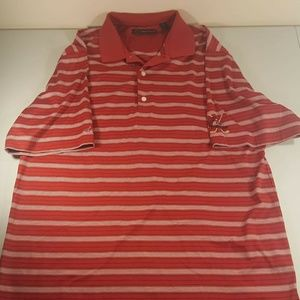 Greg Norman Cotton Mens Red Striped Short Sleeve